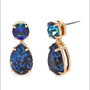 Kate Spade blue and gold double drop earrings